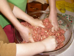 Making meatloaf...