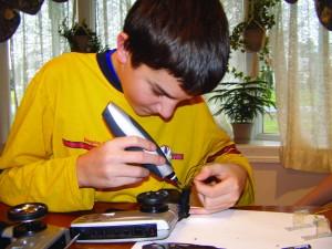 Ben soldering electronics
