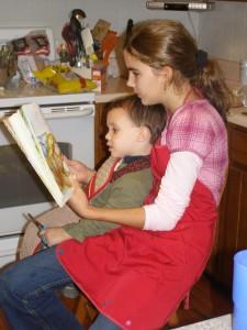 Monica reading to her nephew...
