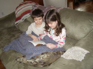 Becca reading to Caleb